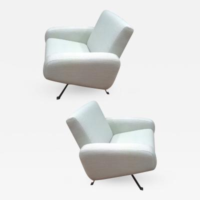 Joseph Andre Motte Joseph Andre Motte for Steiner Pair of Lounge Chairs Recovered in Canvas
