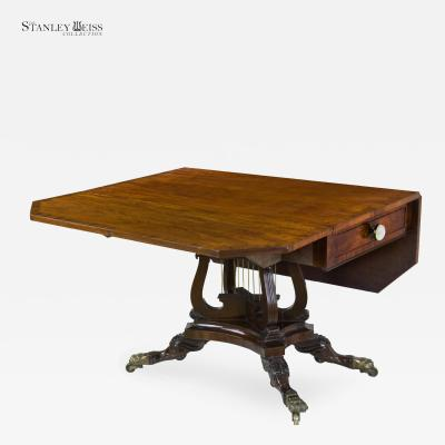 Joseph B Barry A Fine Classical Mahogany Drop Leaf Table with Crossed Lyres c 1820