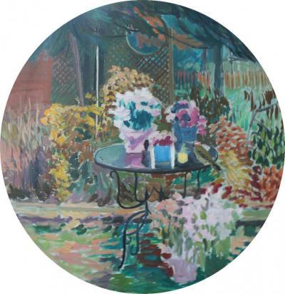 Joseph Benjamin O Sickey Garden Still Life with Table and Bird