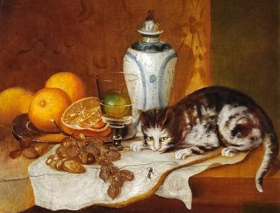 Joseph Biays Ord Tabletop Still Life with Cat and Fly