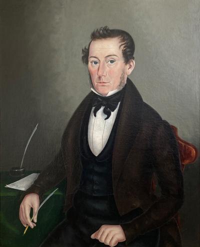 Joseph Bradley American 1839 Portrait On Canvas Of A Gentleman New York