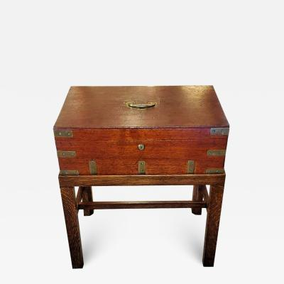 Joseph Bramah 19th Century Campaign Candle Box or Chest on Stand by J Bramah