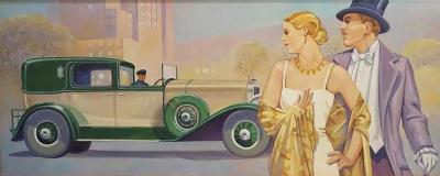 Joseph Christian Leyendecker Art Deco Style Oil Painting in the Manner of JC Leyendecker