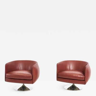 Joseph DUrso Pair Leather Swivel Lounge Chairs Knoll 1980