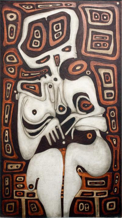 Joseph Demarais Joseph Demarais Beyond the Dreams A Nightmare Carved Wood Painting 1968