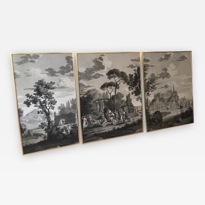 Joseph Dufour 1815 Framed Grissaille Wallpaper Panels By Joseph Dufour