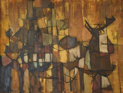 Joseph Fassbender Signed Joseph Fassbender Abstract Oil Painting in Walnut Frame