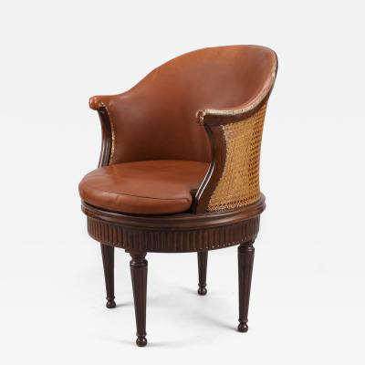 Joseph Gegenback dit Canabas Rare Turning Louis XVI Desk Chair with Original Leather Upholstery