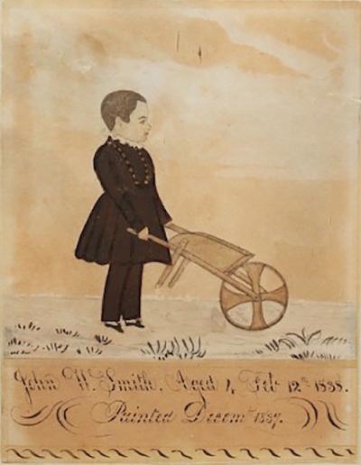 Joseph H Davis Full Length Portrait of Little 4 Year Old Boy John Smith and his Wheelbarrow