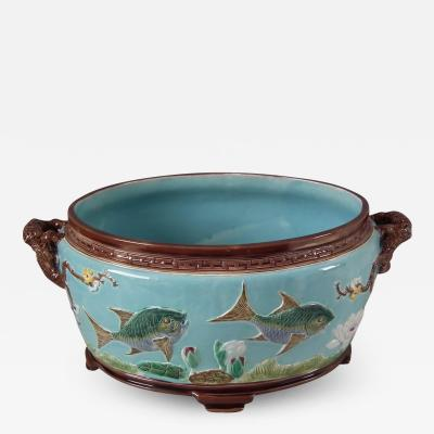 Joseph Holdcroft Holdcroft Oval Majolica Fish and Lilies Jardini re