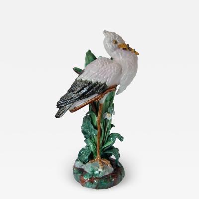 Joseph Holdcroft Large Holdcroft Majolica Stork Stick Stand