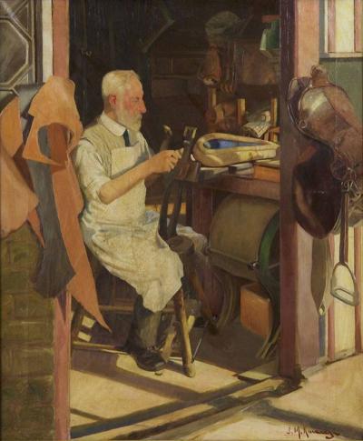 Joseph Malachy Kavanagh Saddlemaker s Shop Joseph Kavanagh R H A Irish 1856 1918