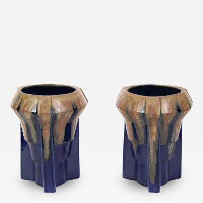 Joseph Mougin Pair of French Art Deco Period Ceramic Vases in the Style of Mougin