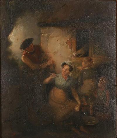 Joseph Paulman Original Oil on Panel the Cat Mouse Attributed to Joseph Paulman 1821