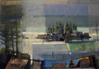 Joseph Theodore Domareki Joseph Domareki Abstract Landscape Painting 1950s signed and dated