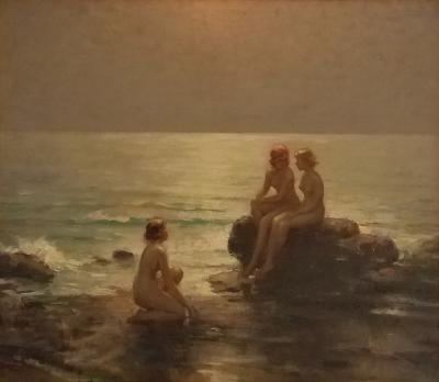 Joseph Tomanek Joseph Tomanek Painting Nudes in Moon lit Shore