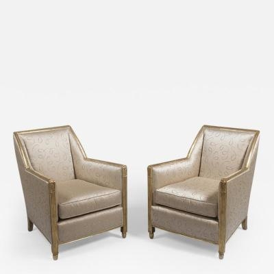 Joubert et Petit DIM Pair of Art Deco Gilt Club Chairs