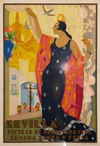 Juan Bacera Juan Baceras Fiesta De Primavera 1932 Art Deco Lithographic Poster