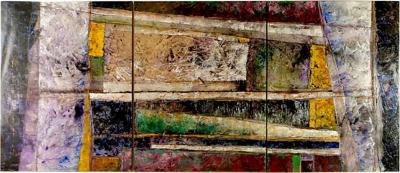 Juan Carlos Macias Juan Carlos Macias Mexican born 1961 84 x 120 Abstract Triptych Painting