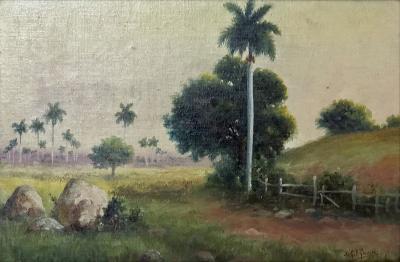 Juan Gil Garcia Cuban 1879 1930 Landscape with Palms Oil on Canvas on board