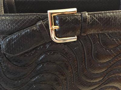 Judith Leiber Judith Leiber Oversize Snakeskin Buckle Pocketbook