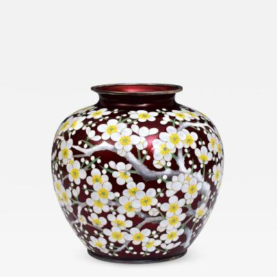 Juebi Ando A Japanese Sterling Silver Cloisonne Vase by Ando Jubei