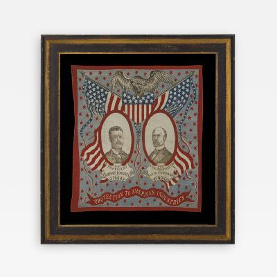 Jugate Portrait Kerchief Made for the 1904 Campaign of Roosevelt and Fairbanks