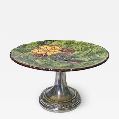 Jugendstil Floral Majolica and Silver Plate Centerpiece Germany C 1900