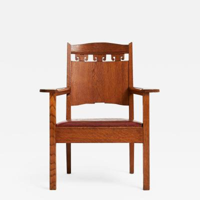 Jugendstil Oak and Leather Armchair