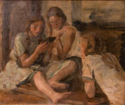 Jul Paulsen Original Antique Oil Painting of Three Young Girls Reading by Jul Paulsen