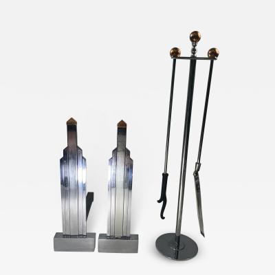 Jules Bouy ART DECO CHROME AND COPPER ANDIRONS AND FIRETOOLS BY JULES BOUY