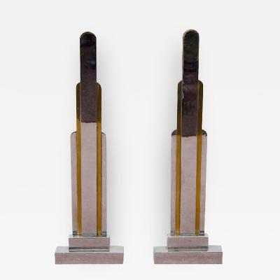 Jules Buoy French Art Deco Pair of Bronze Skyscraper Form Andirons by Jules Buoy