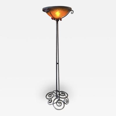 Jules Cayette Jules Cayette Charles Schneider Art Nouveau Wrought Iron Floor Lamp