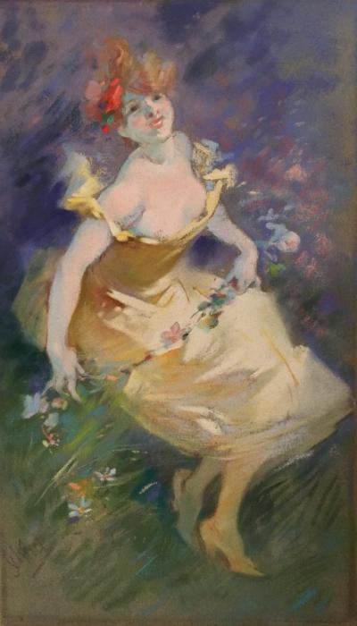 Jules Cheret La Guirlande de Fleurs