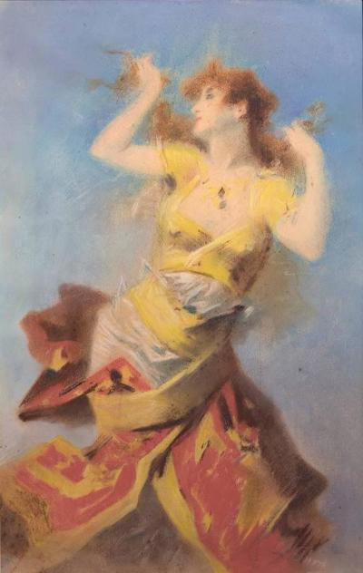 Jules Cheret Pastel Drawing of a Dancing Woman by Jules Cheret c 1900