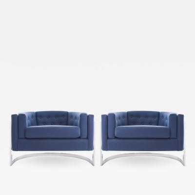 Jules Heumann Midcentury Chrome Jules Heumann for Metropolitan Cantilever Lounge Chairs
