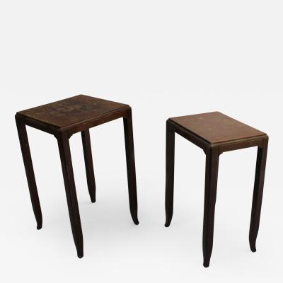 Jules Leleu 2 FINE FRENCH ART DECO MAHOGANY SIDE TABLES BY JULES LELEU