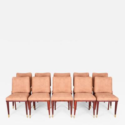 Jules Leleu 20th century Artdeco French Chairs 10 pcs