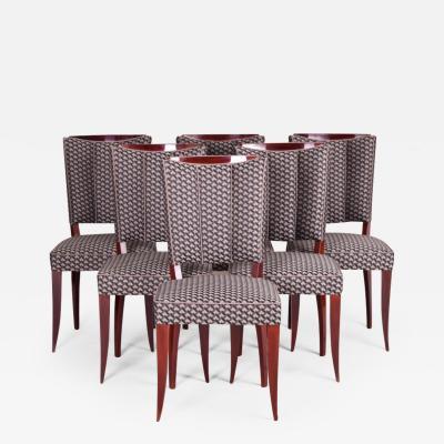 Jules Leleu 20th century Artdeco French Chairs 6 pcs