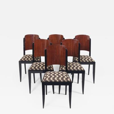 Jules Leleu 20th century Artdeco French Chairs 6 pieces