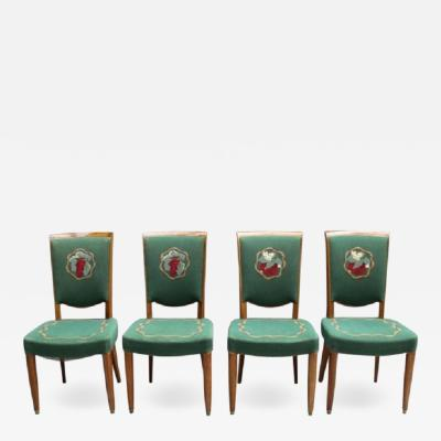 Jules Leleu 4 Fine French Art Deco Dining Chairs by Jules Leleu 4 arm chairs available