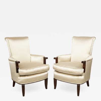 Jules Leleu A Pair of Art Deco Mahogany Chairs by Jules Leleu