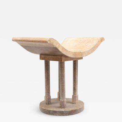Jules Leleu ART DECO STYLE PARCHMENT COVERED STOOL IN THE MANNER OF JULES LELEU