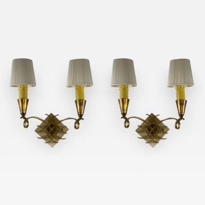 Jules Leleu ART MODERNE PAIR OF JULES LELEU SCONCES