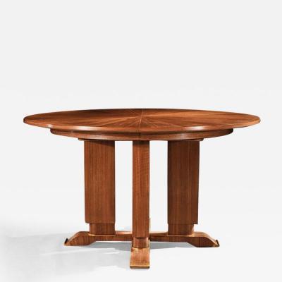 Jules Leleu FRENCH WALNUT GUERIDON EXTENDABLE DINING TABLE C 1930 SIGNED JULES LELEU