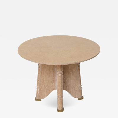 Jules Leleu Fine French Cerused Oak Gueridon Table by Jules Leleu