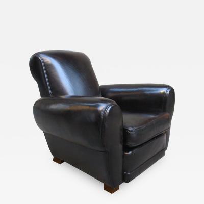 Jules Leleu Fine Jules Leleu Art Deco Leather Armchair