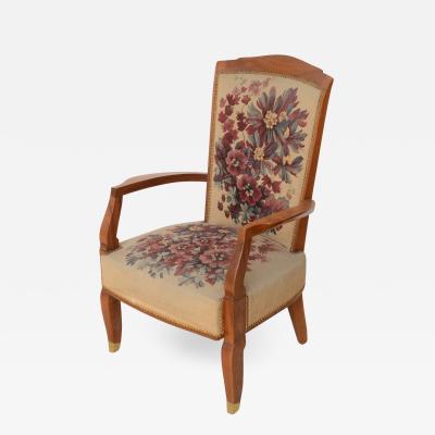 Jules Leleu Fine Late Art Deco Mahogany Open Armchair in Original Tapestry Jules Leleu