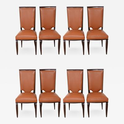 Jules Leleu Fine Set of Eight Late Art Deco Ebony De Macassar Dining Chairs