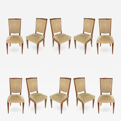 Jules Leleu French 1940s Dining Chairs Manner of Leleu Set of 10